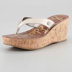 Sam Edelman Romy Wedge Sandal Light Gold and Cork